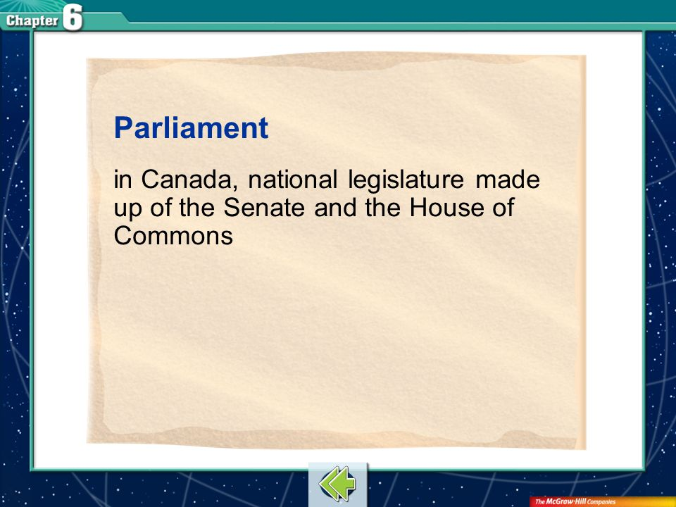Vocab17 Parliament in Canada, national legislature made up of the Senate and the House of Commons