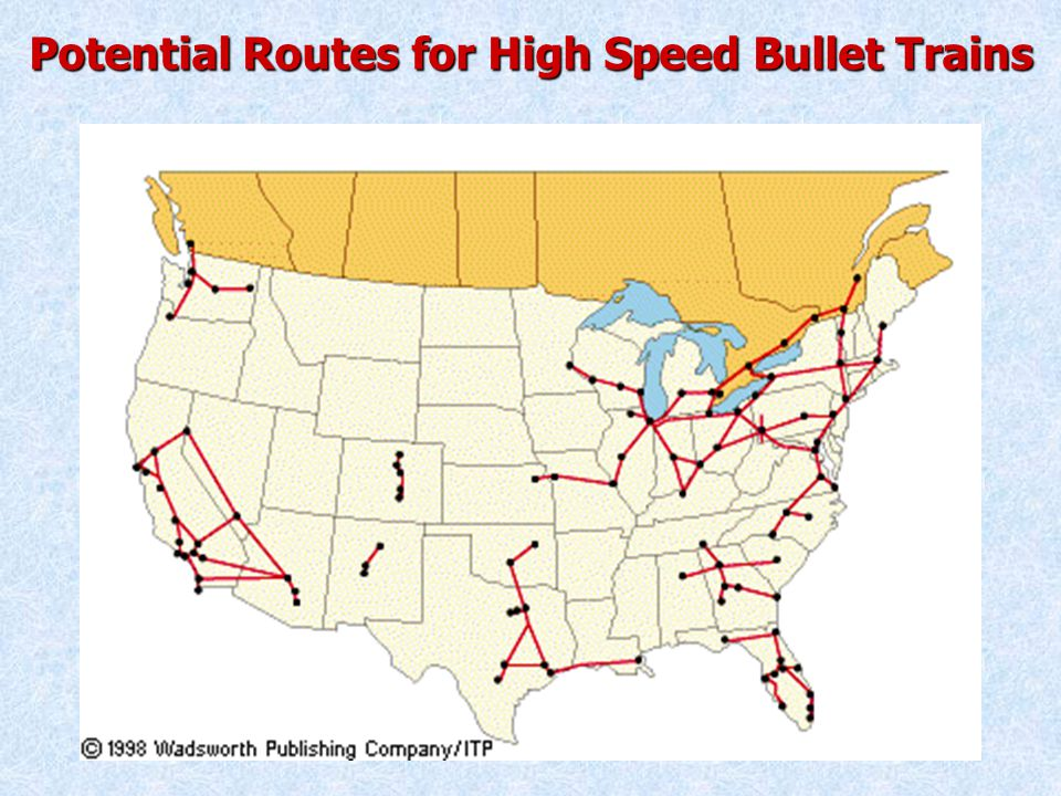 Potential Routes for High Speed Bullet Trains
