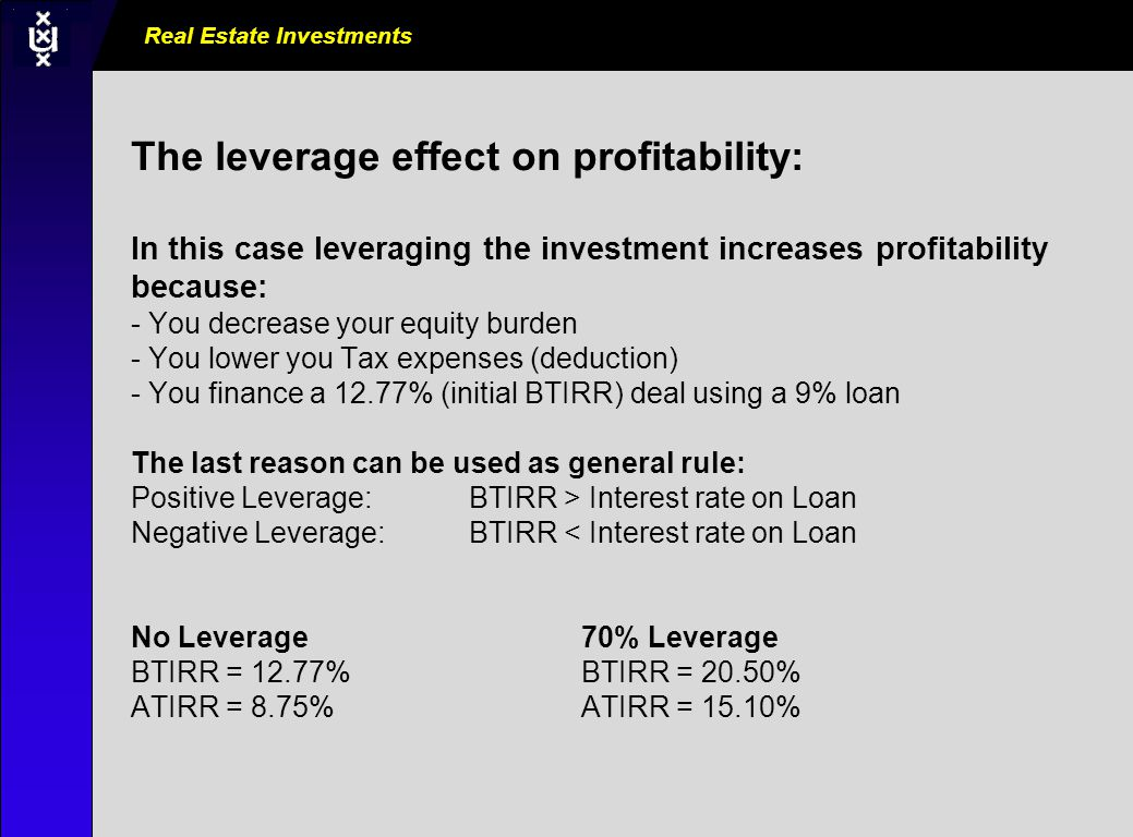 Real Estate Investments AM0000_000_000000 The leverage effect on profitability: In this case leveraging the investment increases profitability because: - You decrease your equity burden - You lower you Tax expenses (deduction) - You finance a 12.77% (initial BTIRR) deal using a 9% loan The last reason can be used as general rule: Positive Leverage: BTIRR > Interest rate on Loan Negative Leverage: BTIRR < Interest rate on Loan No Leverage70% Leverage BTIRR = 12.77% BTIRR = 20.50% ATIRR = 8.75% ATIRR = 15.10%