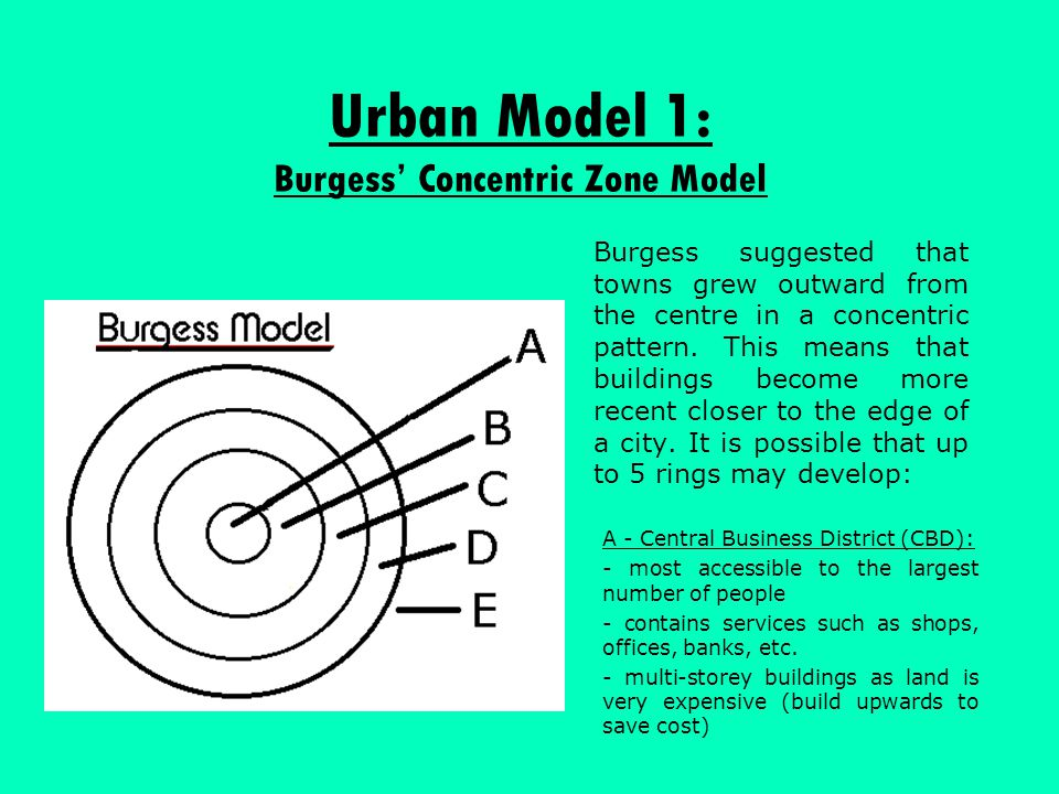 Urban Model 1: Burgess' Concentric Zone Model Burgess suggested that towns grew outward from the centre in a concentric pattern. This means that build