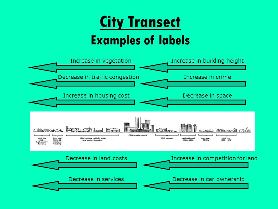 City Transect Examples of labels Increase in crimeDecrease in traffic congestion Increase in housing cost Decrease in land costs Decrease in services