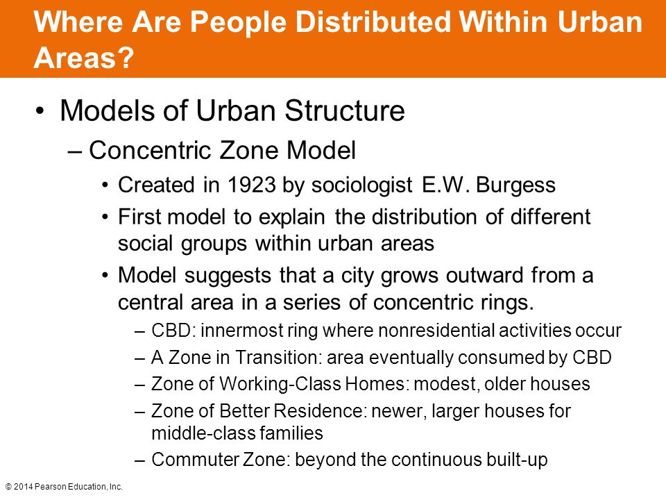 © 2014 Pearson Education, Inc. Where Are People Distributed Within Urban Areas? Models of Urban Structure –Concentric Zone Model Created in 1923 by so