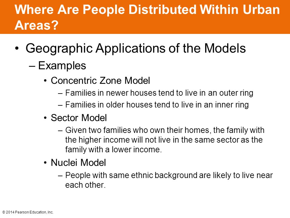 © 2014 Pearson Education, Inc. Where Are People Distributed Within Urban Areas? Geographic Applications of the Models –Examples Concentric Zone Model