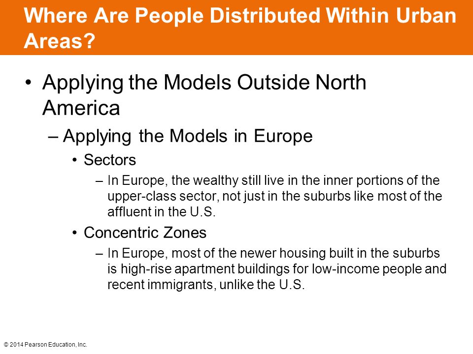 © 2014 Pearson Education, Inc. Where Are People Distributed Within Urban Areas? Applying the Models Outside North America –Applying the Models in Euro