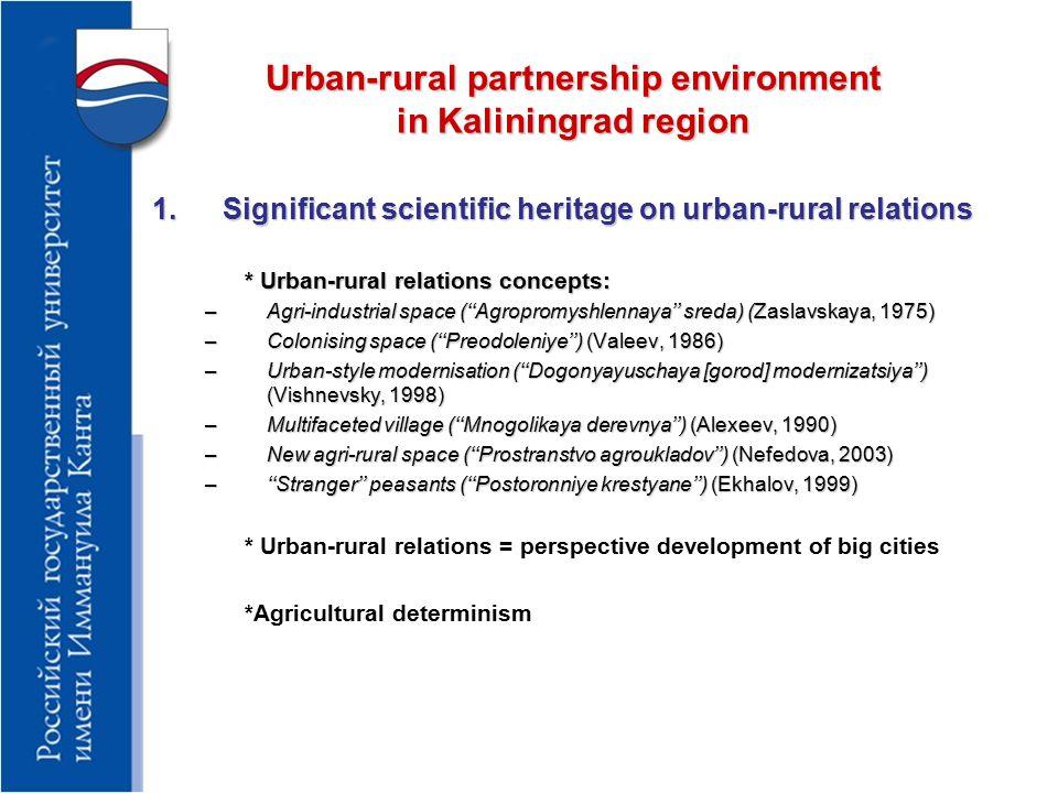 Urban-rural partnership environment in Kaliningrad region 2.