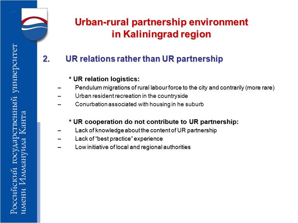 Urban-rural partnership environment in Kaliningrad region 3.