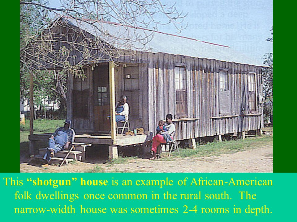 """This """"shotgun"""" house is an example of African-American folk dwellings once common in the rural south. The narrow-width house was sometimes 2-4 rooms i"""