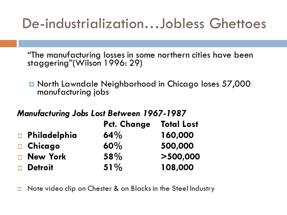 De-industrialization…Jobless Ghettoes The manufacturing losses in some northern cities have been staggering (Wilson 1996: 29)  North Lawndale Neighborhood in Chicago loses 57,000 manufacturing jobs Manufacturing Jobs Lost Between 1967-1987 Pct.