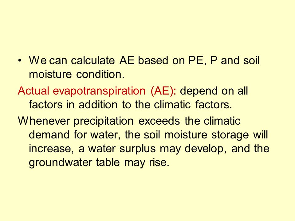 We can calculate AE based on PE, P and soil moisture condition.