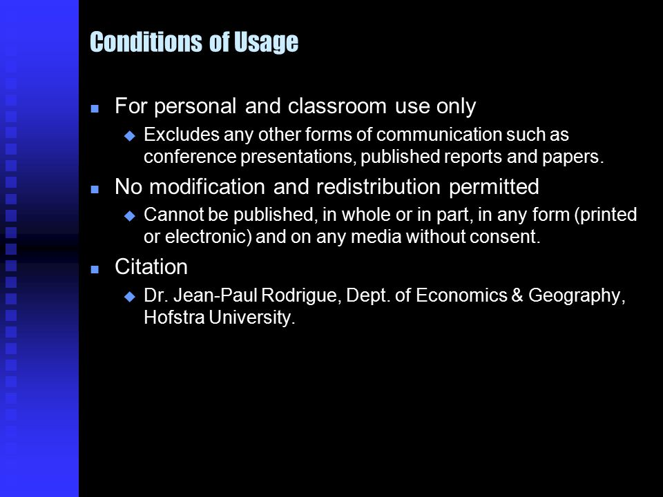 Conditions of Usage n For personal and classroom use only u Excludes any other forms of communication such as conference presentations, published reports and papers.