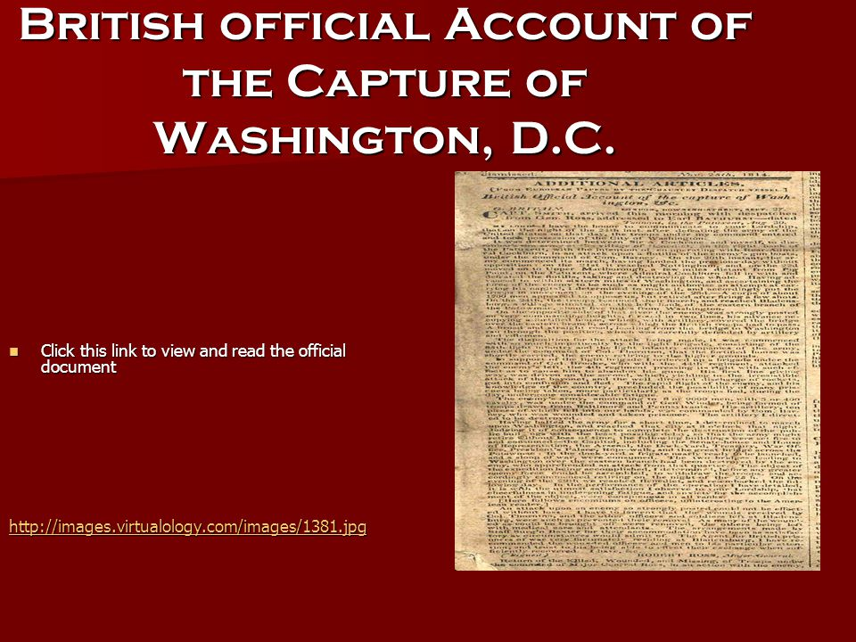 British official Account of the Capture of Washington, D.C.