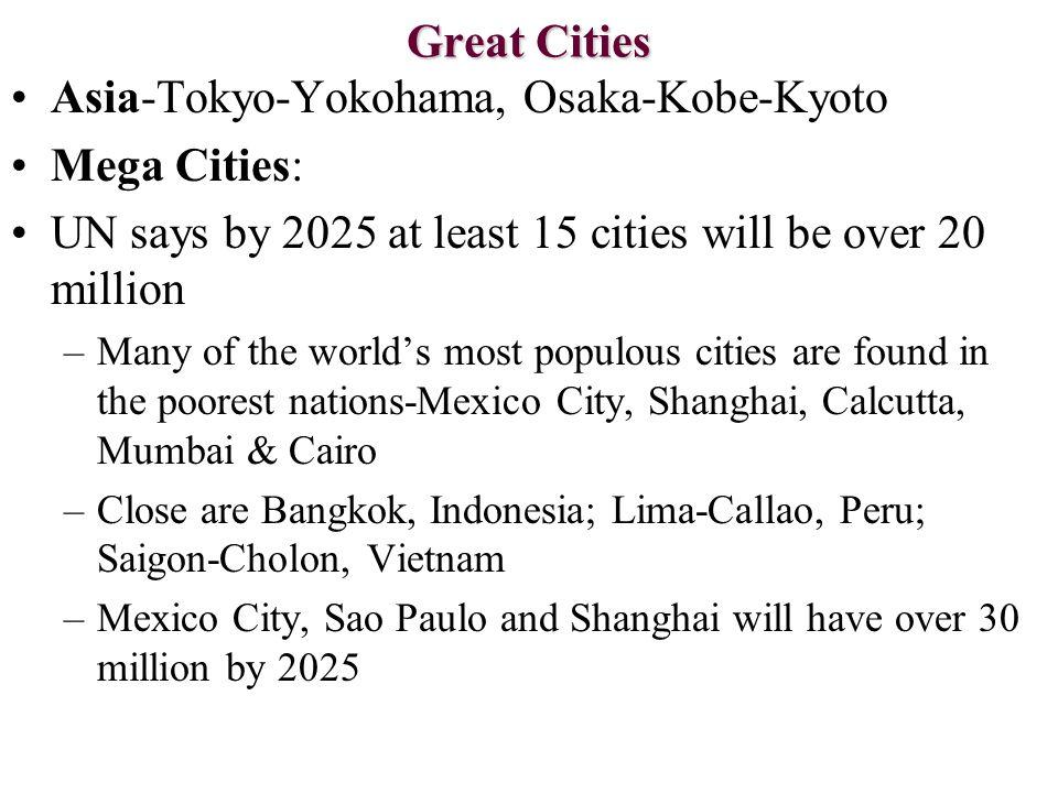 Great Cities Asia-Tokyo-Yokohama, Osaka-Kobe-Kyoto Mega Cities: UN says by 2025 at least 15 cities will be over 20 million –Many of the world's most p
