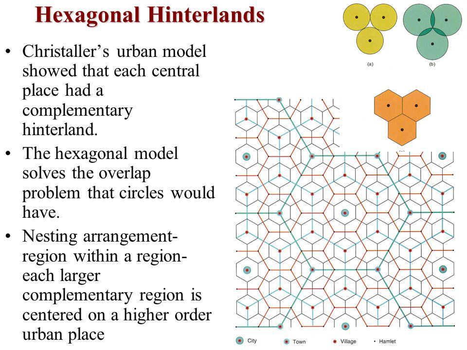 Hexagonal Hinterlands Christaller's urban model showed that each central place had a complementary hinterland. The hexagonal model solves the overlap