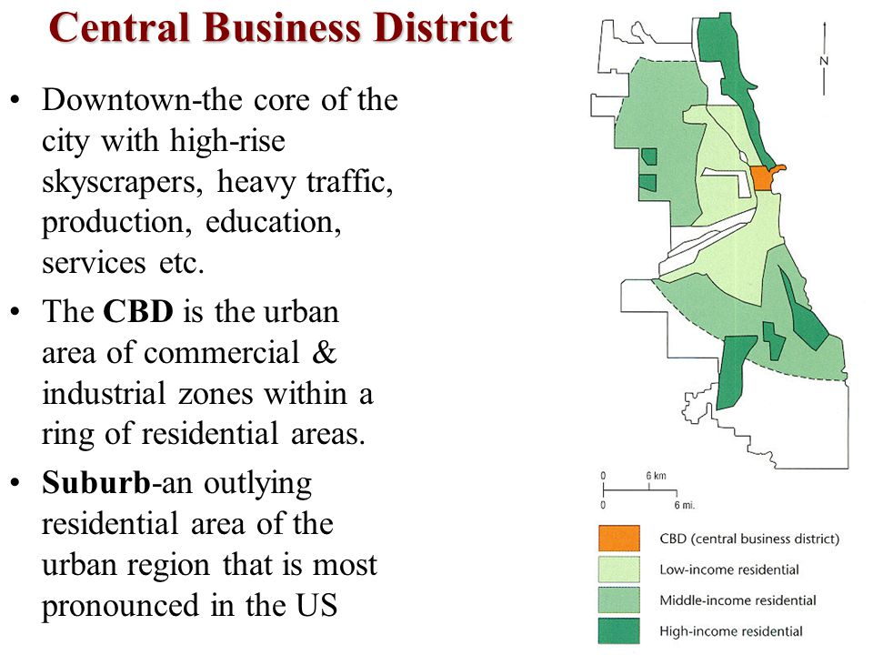 Central Business District Downtown-the core of the city with high-rise skyscrapers, heavy traffic, production, education, services etc. The CBD is the