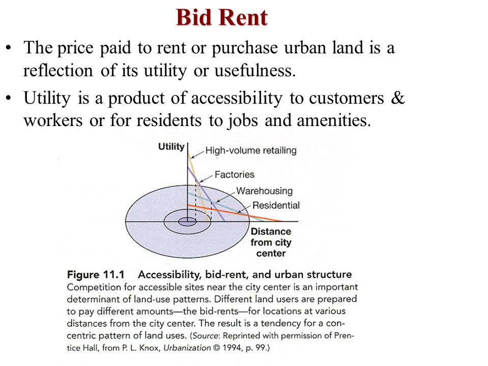 Bid Rent The price paid to rent or purchase urban land is a reflection of its utility or usefulness. Utility is a product of accessibility to customer