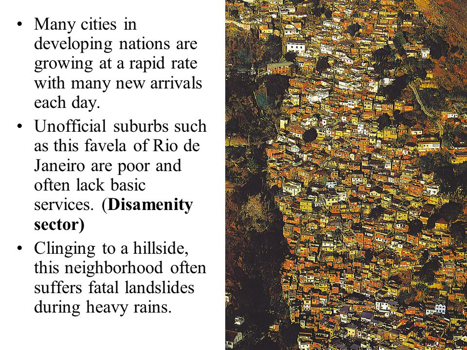 Many cities in developing nations are growing at a rapid rate with many new arrivals each day. Unofficial suburbs such as this favela of Rio de Janeir