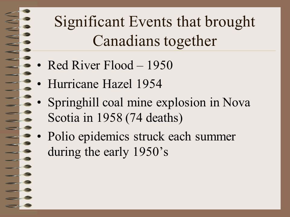 Significant Events that brought Canadians together Red River Flood – 1950 Hurricane Hazel 1954 Springhill coal mine explosion in Nova Scotia in 1958 (74 deaths) Polio epidemics struck each summer during the early 1950's