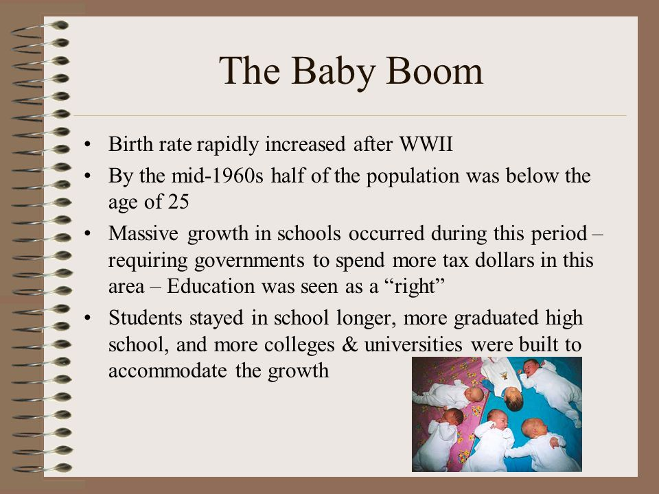 Birth rate rapidly increased after WWII By the mid-1960s half of the population was below the age of 25 Massive growth in schools occurred during this period – requiring governments to spend more tax dollars in this area – Education was seen as a right Students stayed in school longer, more graduated high school, and more colleges & universities were built to accommodate the growth