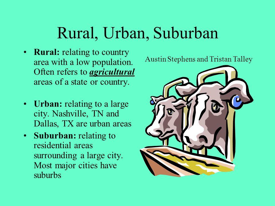 Rural, Urban, Suburban SPI 7.3.4 Distinguish the differences among rural, suburban, and urban communities.