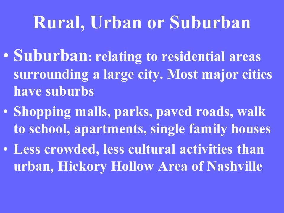 Lets identify some rural, urban, and suburban areas. Can you find a megalopolis