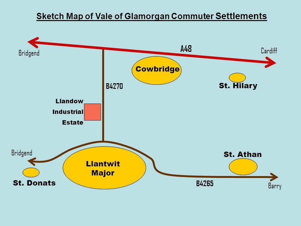 Sketch Map of Vale of Glamorgan Commuter Settlements Bridgend Cardiff Barry Llantwit Major Cowbridge St.