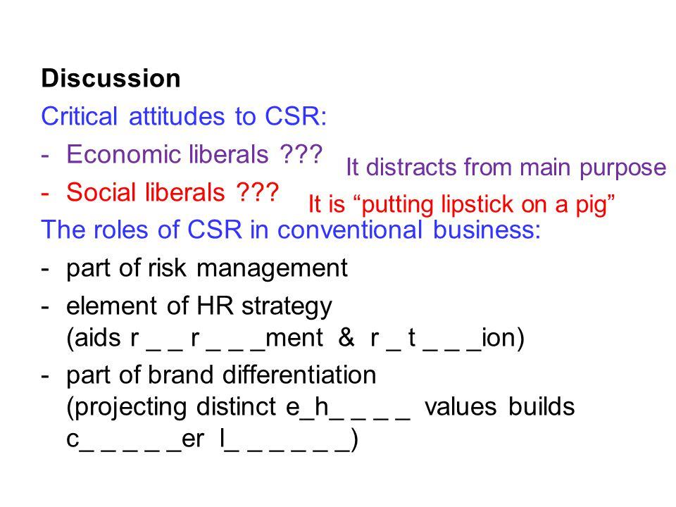 Discussion Critical attitudes to CSR: -Economic liberals .