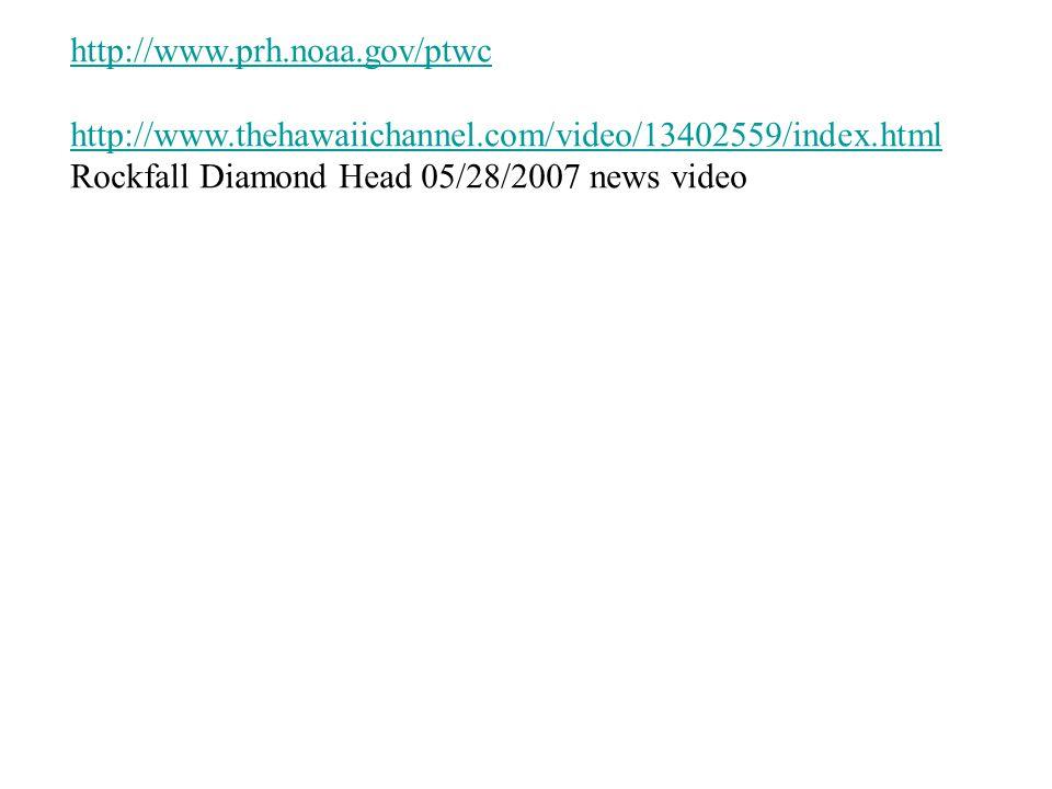 http://www.prh.noaa.gov/ptwc http://www.thehawaiichannel.com/video/13402559/index.html Rockfall Diamond Head 05/28/2007 news video