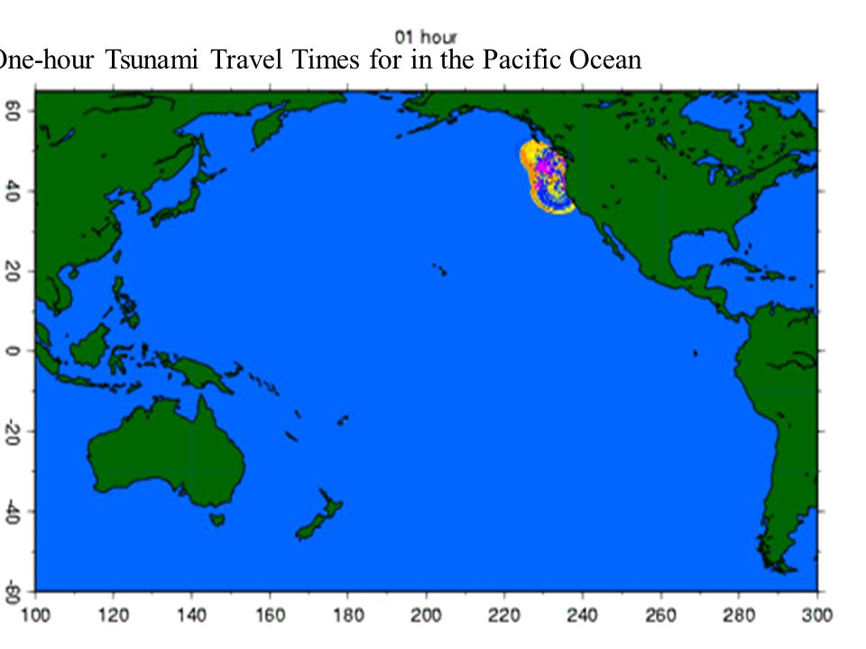 One-hour Tsunami Travel Times for in the Pacific Ocean