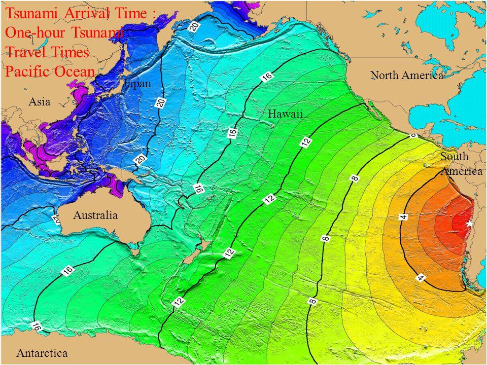 Hawaii Asia North America Australia South America Antarctica Japan Tsunami Arrival Time : One-hour Tsunami Travel Times Pacific Ocean