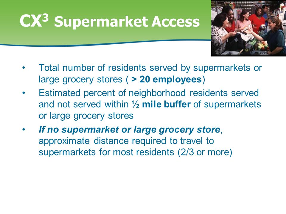 CX 3 Supermarket Access Total number of residents served by supermarkets or large grocery stores ( > 20 employees) Estimated percent of neighborhood residents served and not served within ½ mile buffer of supermarkets or large grocery stores If no supermarket or large grocery store, approximate distance required to travel to supermarkets for most residents (2/3 or more)
