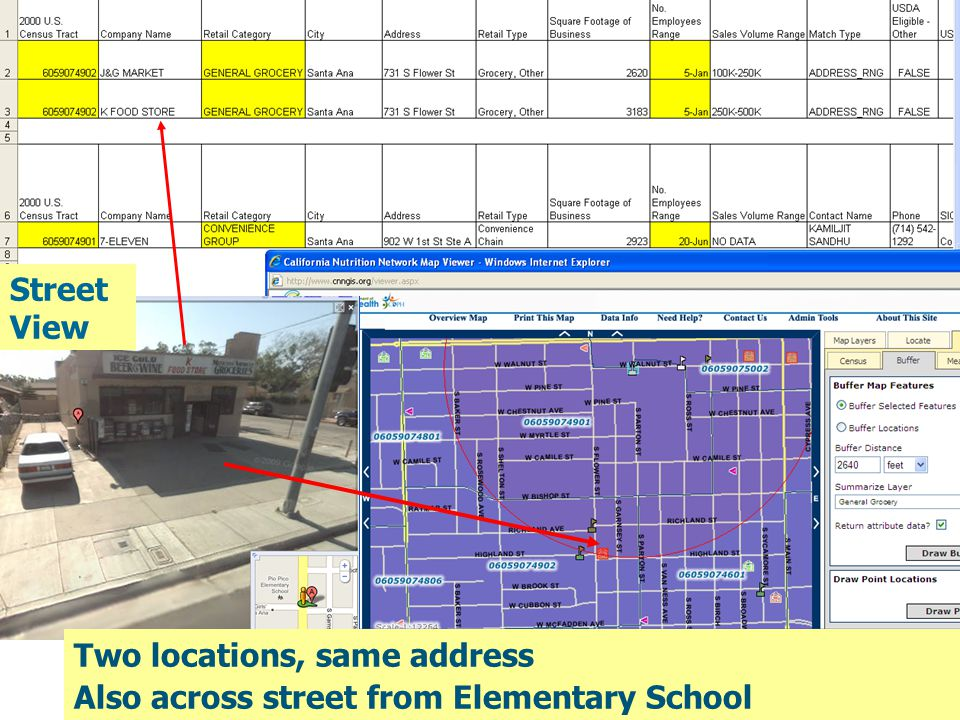 CX3 Tier 1 NF2- Markets Around Schools Two locations, same address Also across street from Elementary School Street View