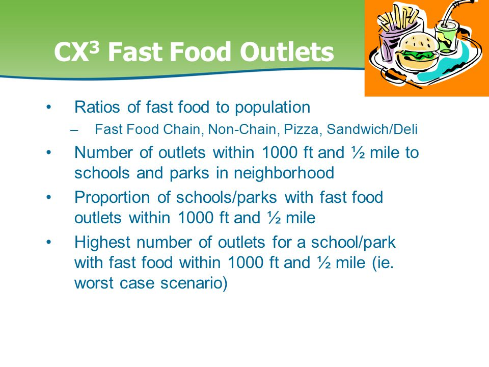 CX 3 Fast Food Outlets Ratios of fast food to population –Fast Food Chain, Non-Chain, Pizza, Sandwich/Deli Number of outlets within 1000 ft and ½ mile to schools and parks in neighborhood Proportion of schools/parks with fast food outlets within 1000 ft and ½ mile Highest number of outlets for a school/park with fast food within 1000 ft and ½ mile (ie.