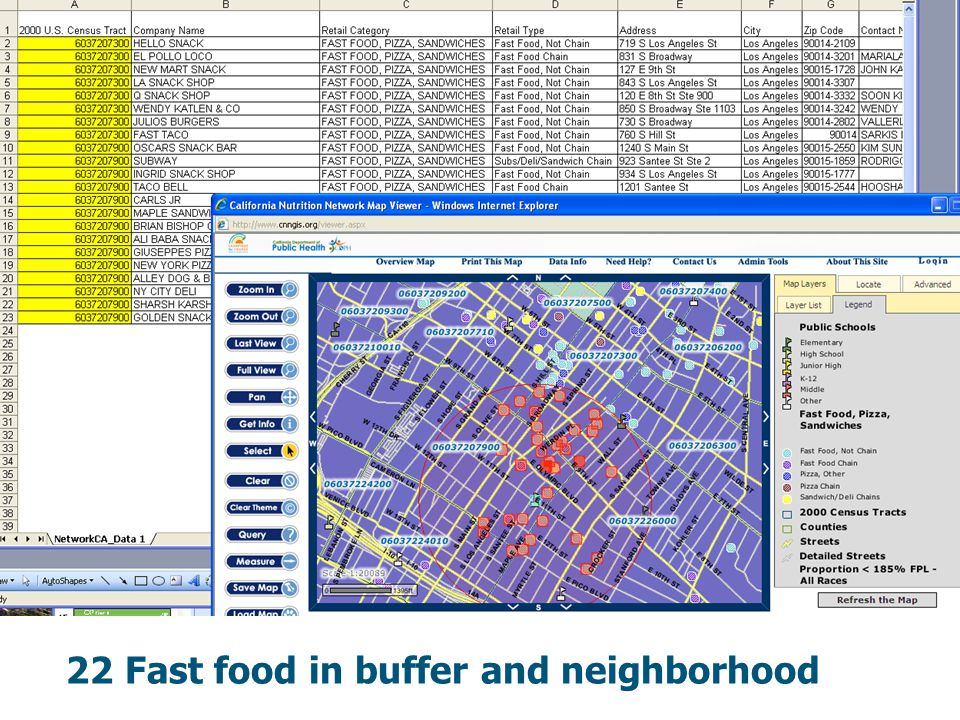 22 Fast food in buffer and neighborhood