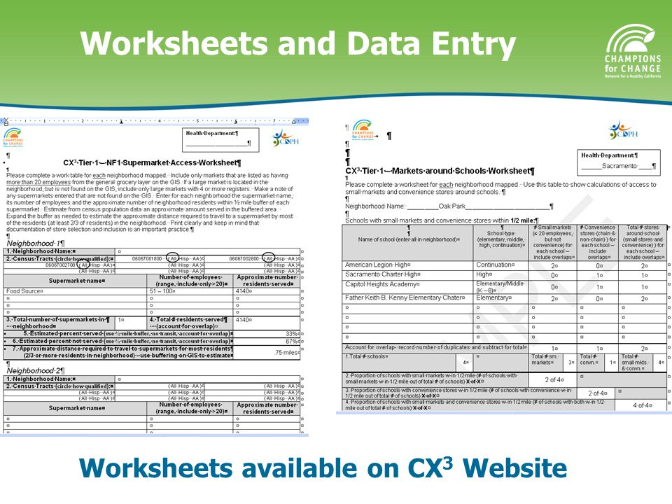 Worksheets and Data Entry Worksheets available on CX 3 Website