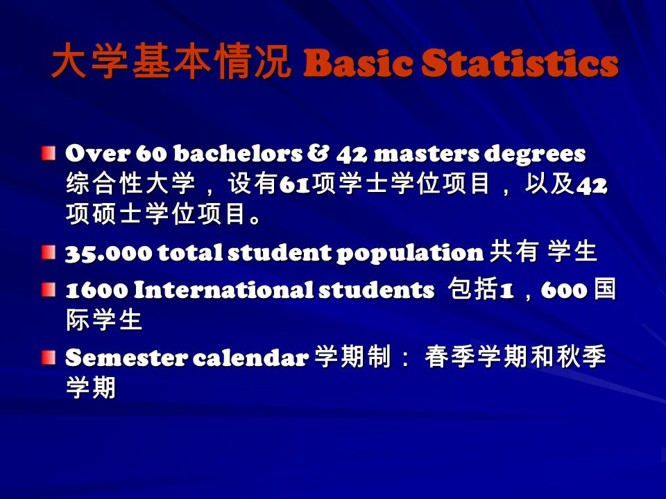 大学基本情况 Basic Statistics Over 60 bachelors & 42 masters degrees 综合性大学, 设有 61 项学士学位项目, 以及 42 项硕士学位项目。 35.000 total student population 共有 学生 1600 Interna