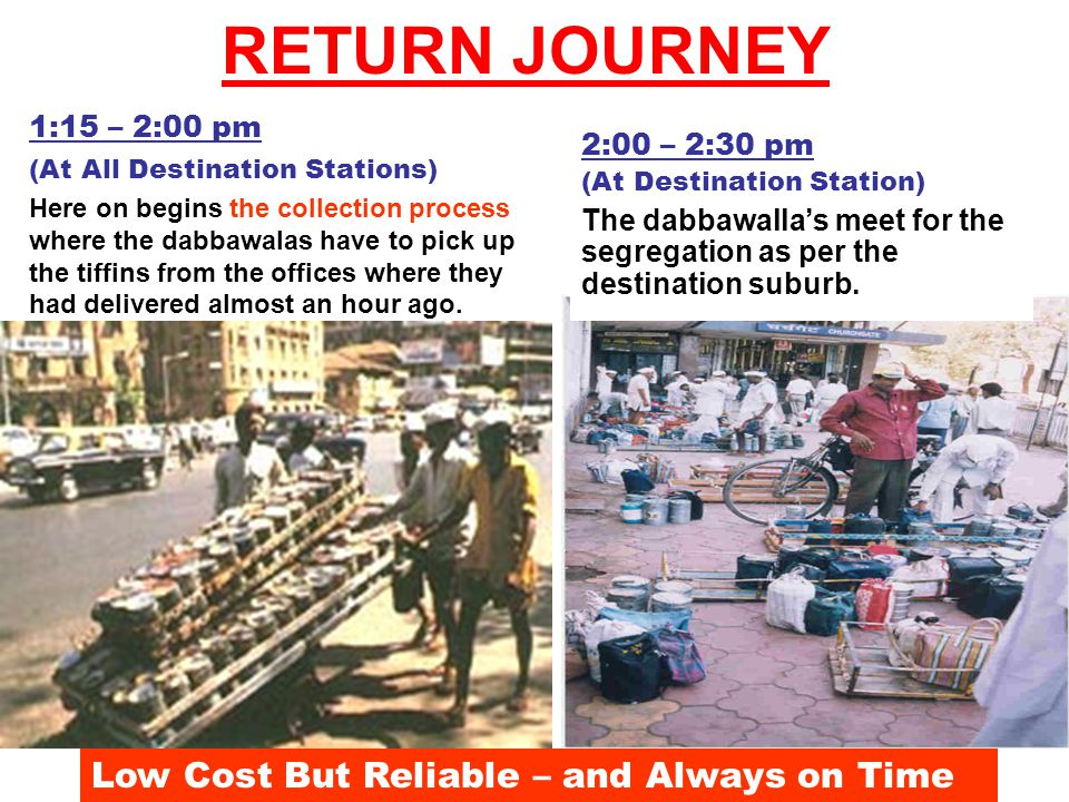 1:15 – 2:00 pm (At All Destination Stations) Here on begins the collection process where the dabbawalas have to pick up the tiffins from the offices where they had delivered almost an hour ago.
