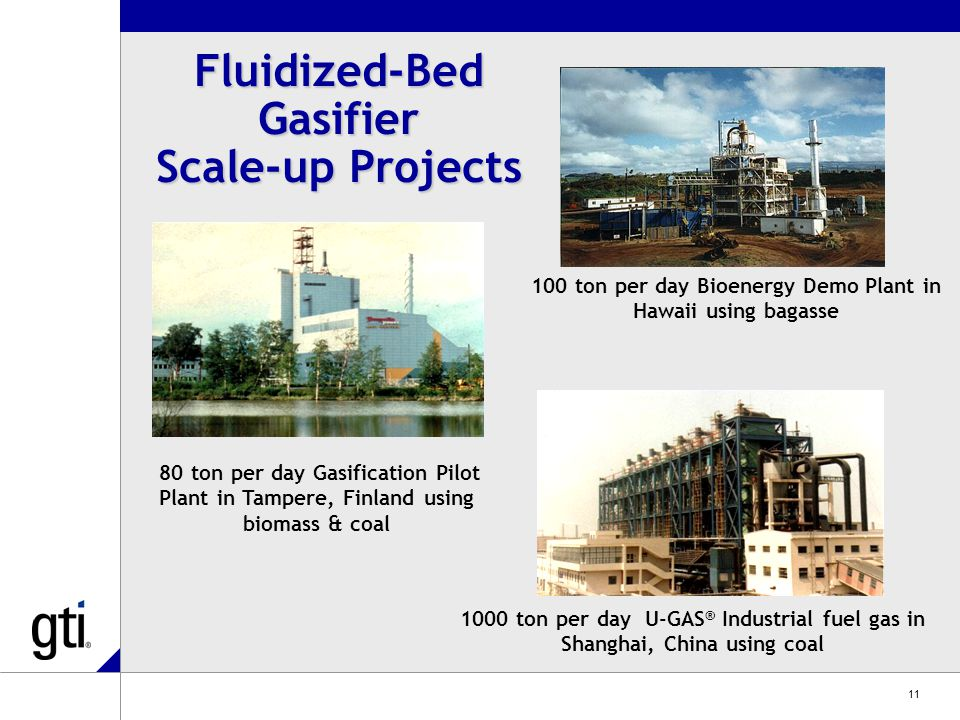 11 100 ton per day Bioenergy Demo Plant in Hawaii using bagasse 1000 ton per day U-GAS ® Industrial fuel gas in Shanghai, China using coal 80 ton per day Gasification Pilot Plant in Tampere, Finland using biomass & coal Fluidized-Bed Gasifier Scale-up Projects