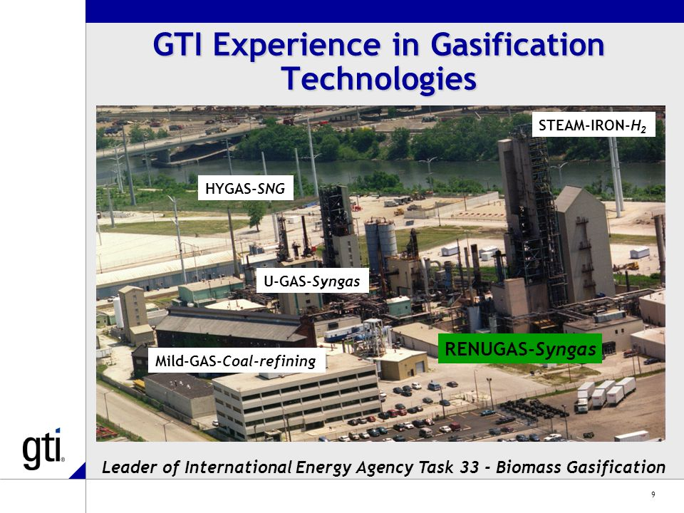 9 HYGAS-SNG STEAM-IRON-H 2 U-GAS-Syngas RENUGAS-Syngas Mild-GAS-Coal-refining GTI Experience in Gasification Technologies Leader of International Energy Agency Task 33 - Biomass Gasification