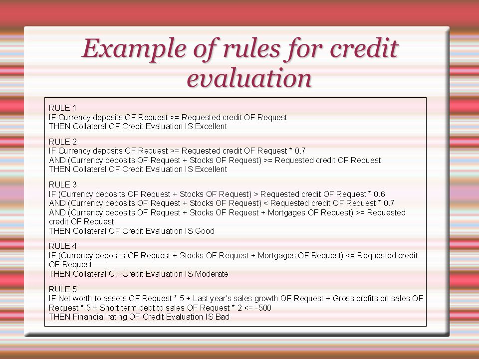 Example of rules for credit evaluation