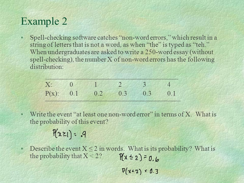 "Example 2 Spell-checking software catches ""non-word errors,"" which result in a string of letters that is not a word, as when ""the"" is typed as ""teh."""