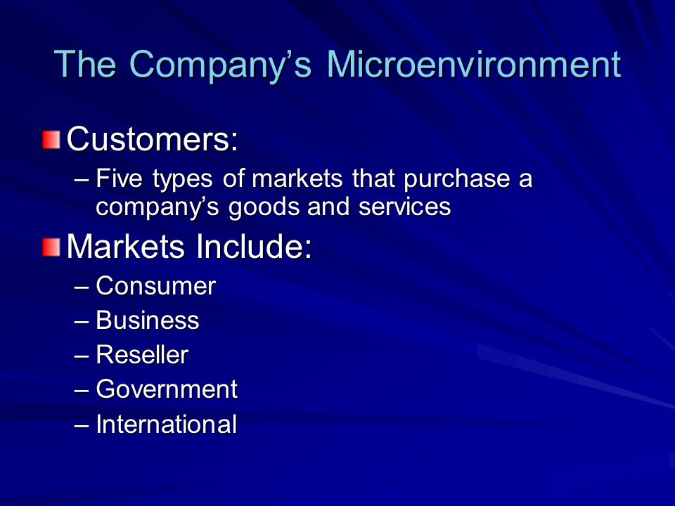 The Company's Microenvironment Competitors: –Those who serve a target market with products and services that are viewed by consumers as being reasonable substitutes –Company must gain strategic advantage against these organizations