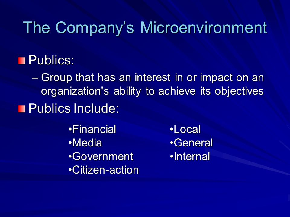 The Macroenvironment The company and all of the other actors operate in a larger macroenvironment of forces that shape opportunities and pose threats to the company.