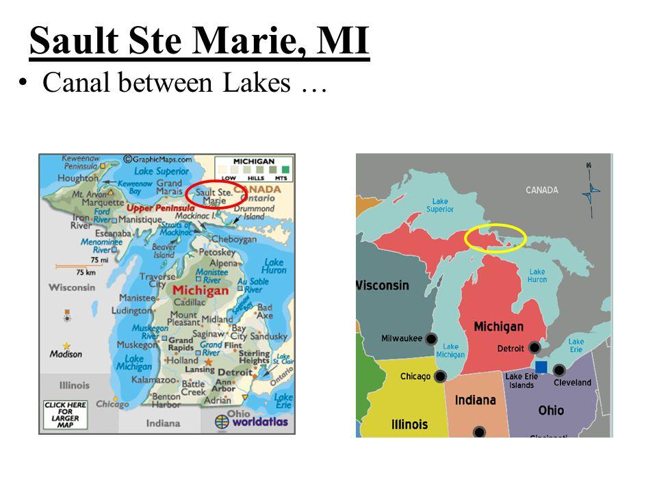 Sault Ste Marie, MI Canal between Lakes …