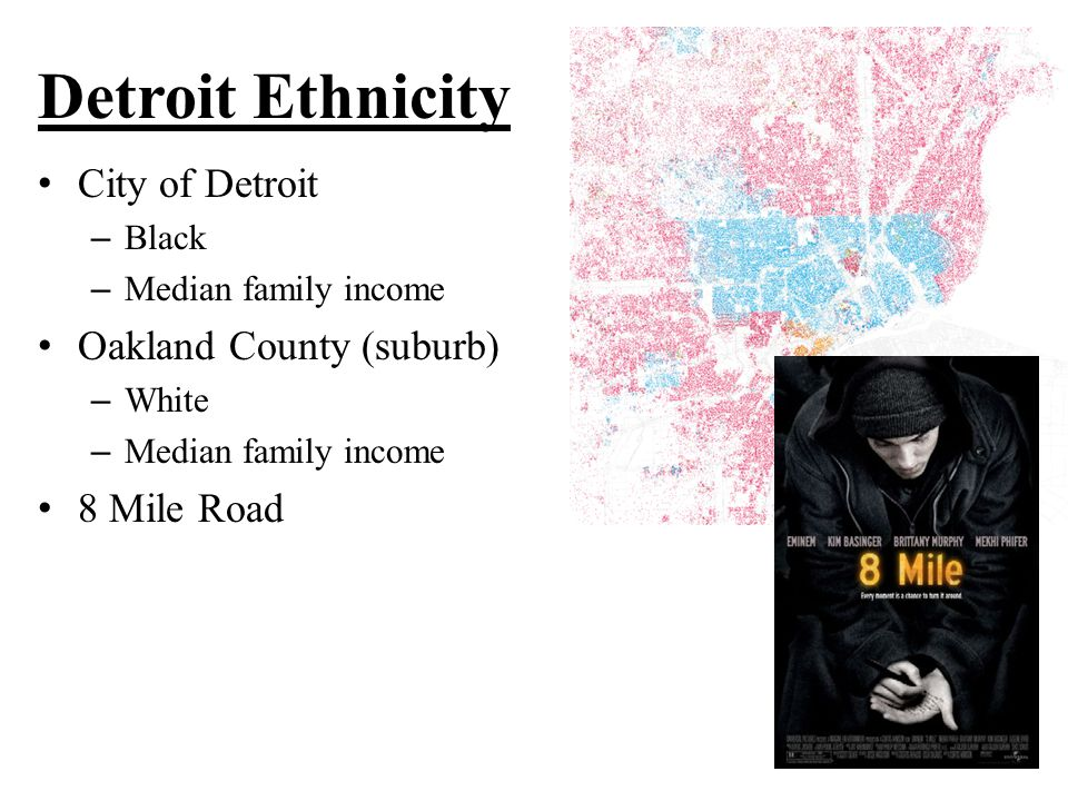 Detroit Ethnicity City of Detroit – Black – Median family income Oakland County (suburb) – White – Median family income 8 Mile Road