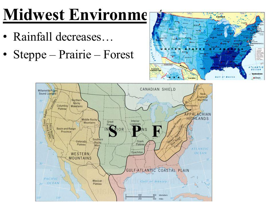 Midwest Environment Rainfall decreases… Steppe – Prairie – Forest SPF