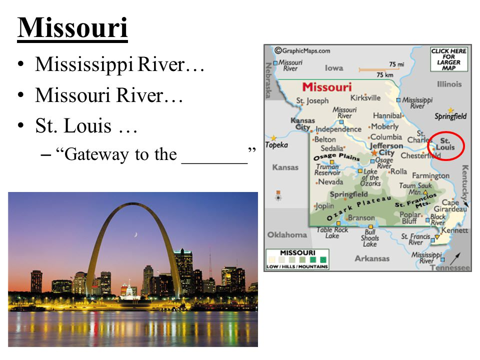 "Missouri Mississippi River… Missouri River… St. Louis … – ""Gateway to the _______"""