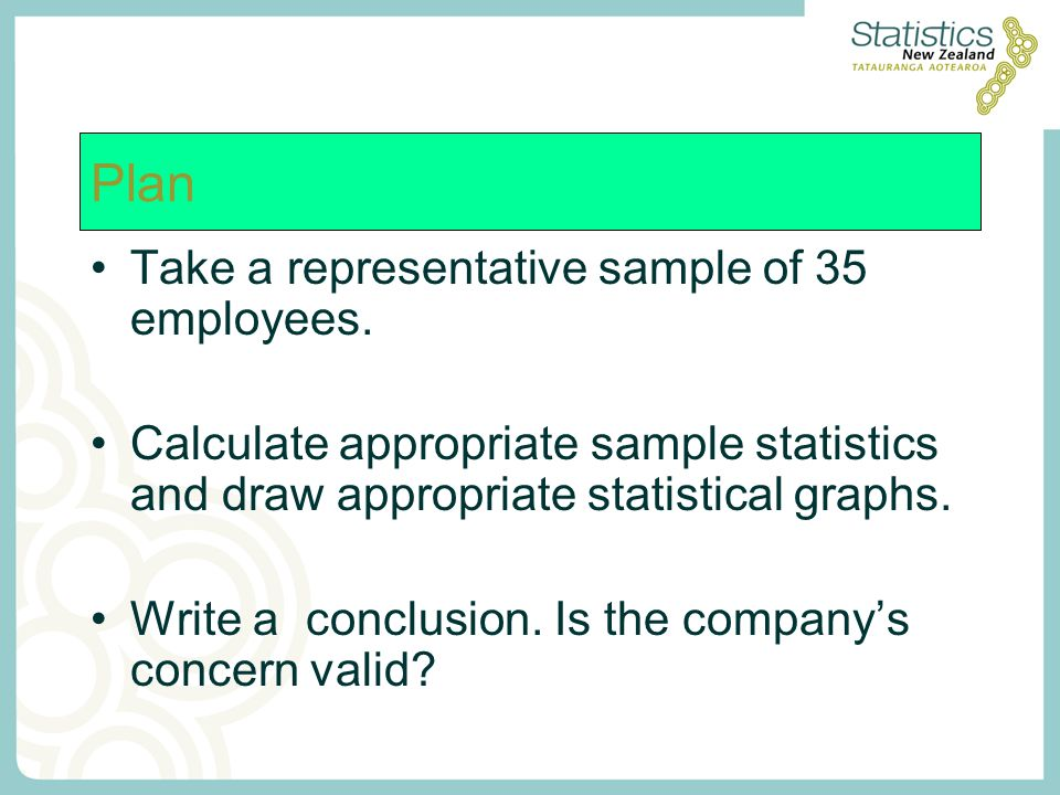 Take a representative sample of 35 employees. Calculate appropriate sample statistics and draw appropriate statistical graphs. Write a conclusion. Is