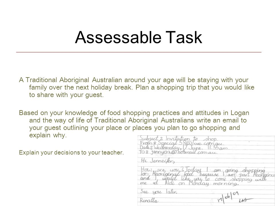 Assessable Task A Traditional Aboriginal Australian around your age will be staying with your family over the next holiday break.
