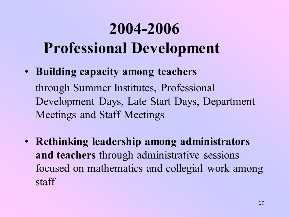 10 2004-2006 Professional Development Building capacity among teachers through Summer Institutes, Professional Development Days, Late Start Days, Department Meetings and Staff Meetings Rethinking leadership among administrators and teachers through administrative sessions focused on mathematics and collegial work among staff