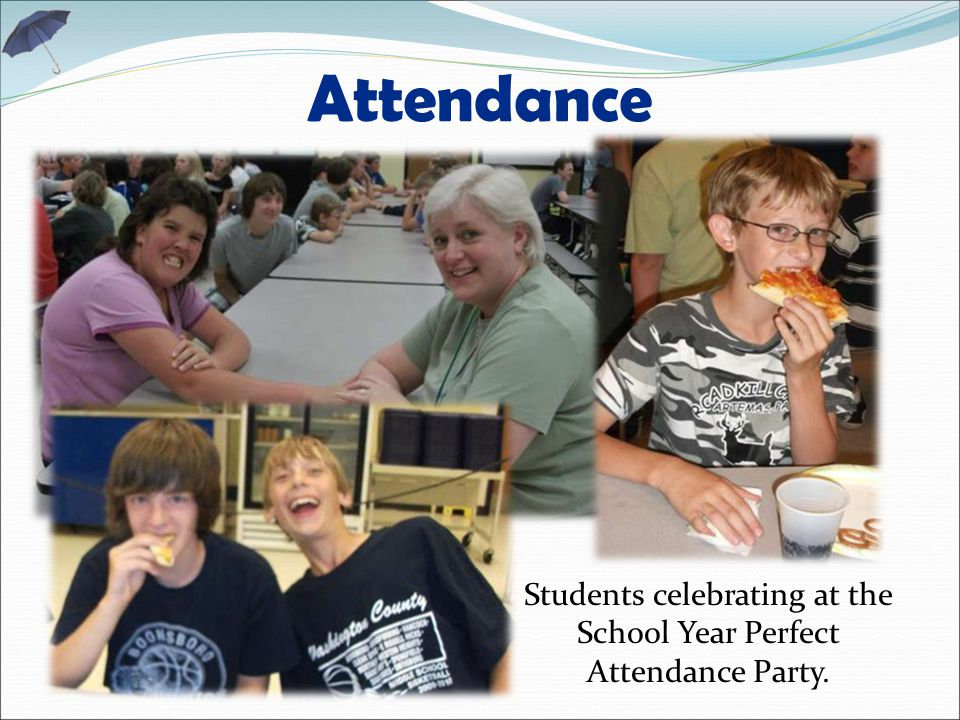 Attendance Students celebrating at the School Year Perfect Attendance Party.